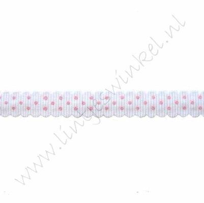 Schulplint grosgrain 10mm - Stip Wit Roze
