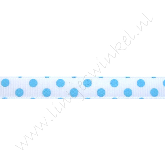 Stippenlint 10mm - Dubbele Stip Wit Licht Blauw