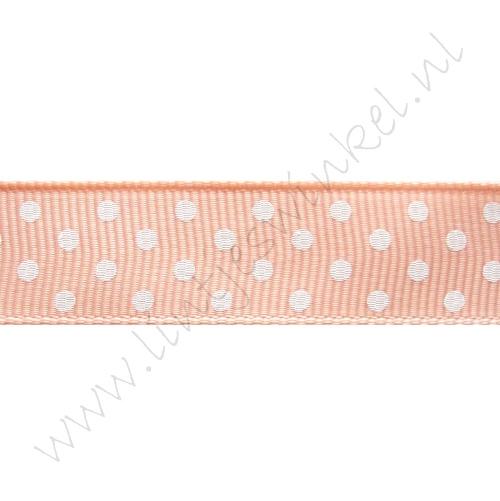 Stippenlint 16mm - Zalm Roze Wit