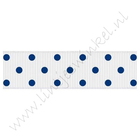 Stippenlint 22mm - Wit Blauw