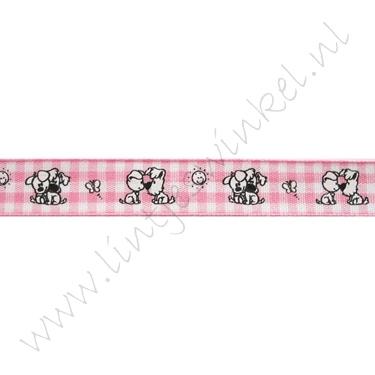 Baby lint 12mm - Woezel & Pip Ruitjes Roze