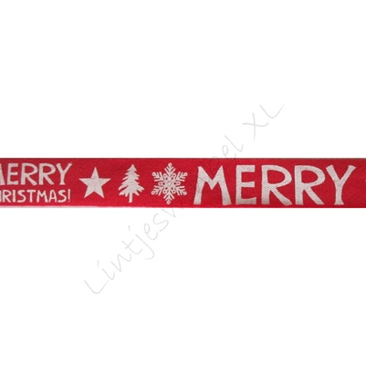 Katoenlint 16mm - Merry Christmas Rood Wit