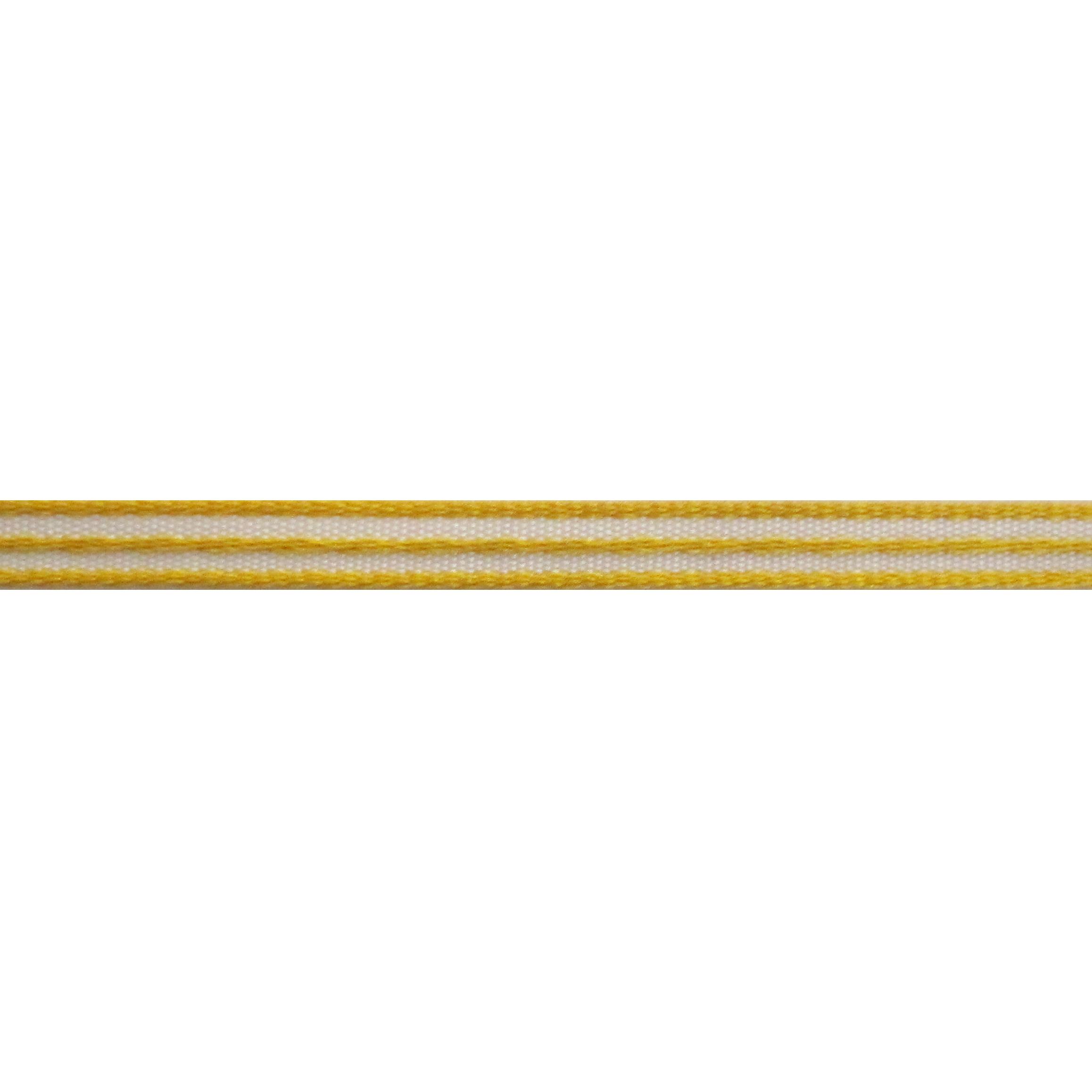 Strepenlint 5mm - Taffeta Satijn Geel Wit