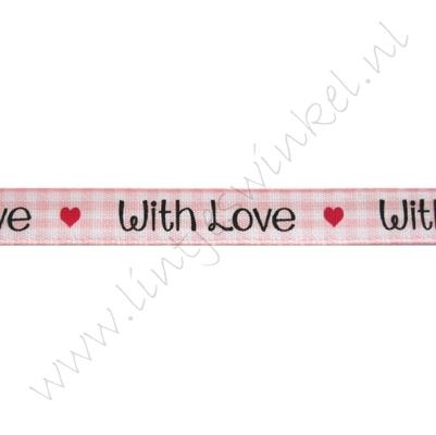 Lint harten 10mm - With Love Ruitjes Roze