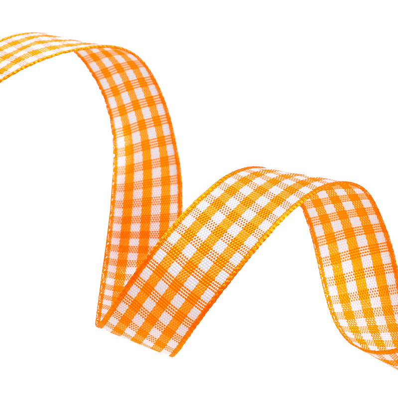 Geruit lint 38mm - Oranje Glans