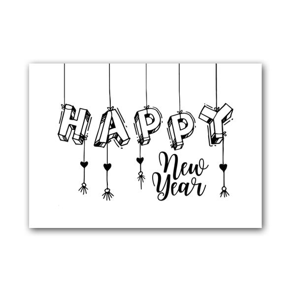 Zwart Wit Kaart - Happy New Year (10 stuks)