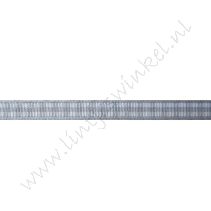Geruit lint 6mm (rol 45 meter) - Licht Grijs
