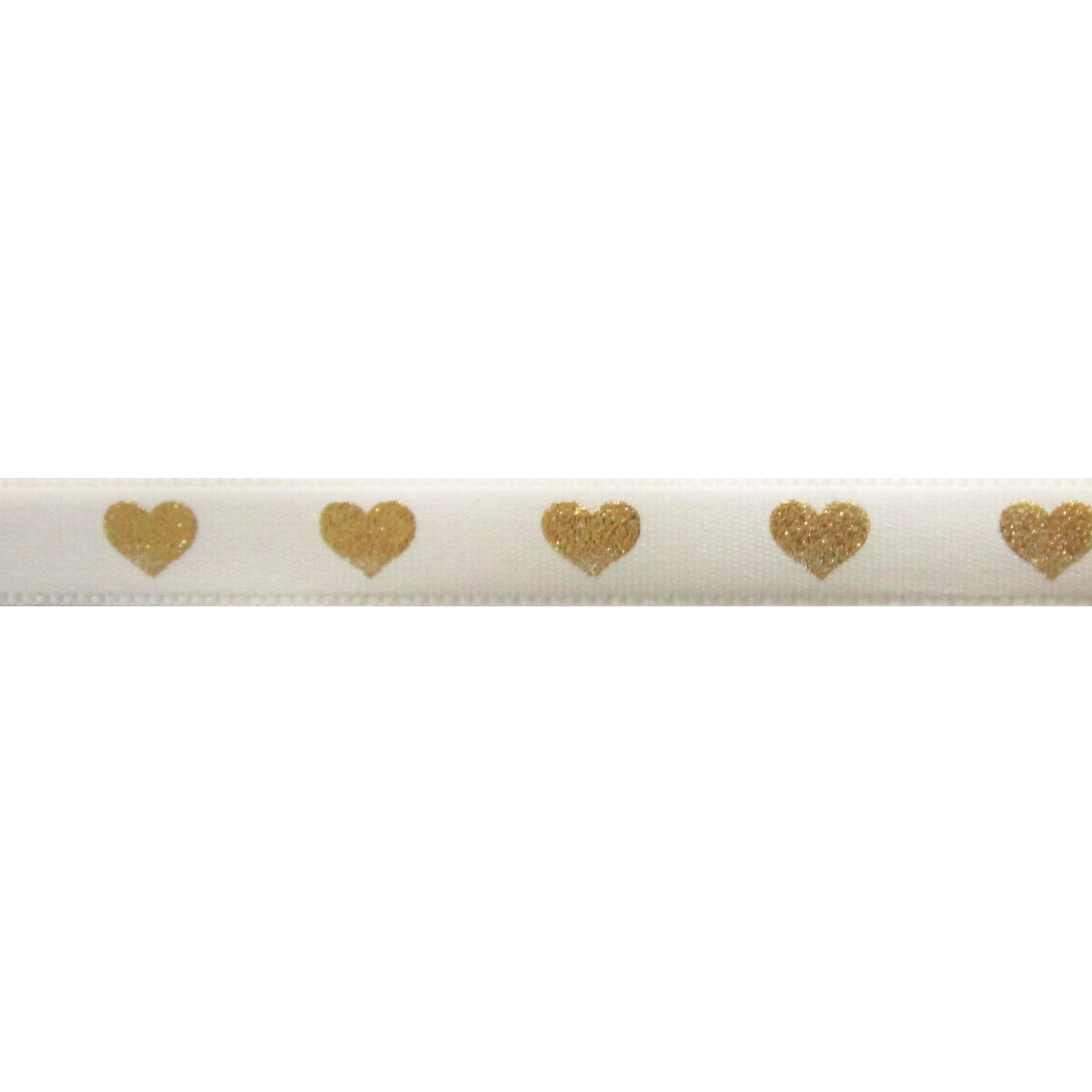 Satijnlint harten 10mm - Creme Goud