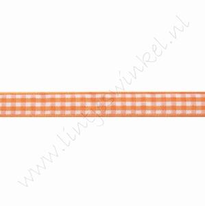 Geruit lint 10mm (rol 22 meter) - Oranje