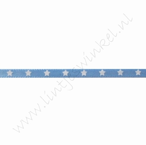 Satijnlint sterren 3mm (rol 22 meter) - Licht Blauw Wit