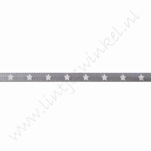 Satijnlint sterren 3mm (rol 22 meter) - Zilver Grijs Wit