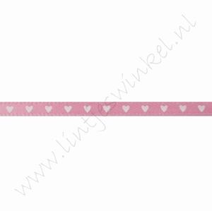 Satijnlint harten 3mm (rol 22 meter) - Roze Wit