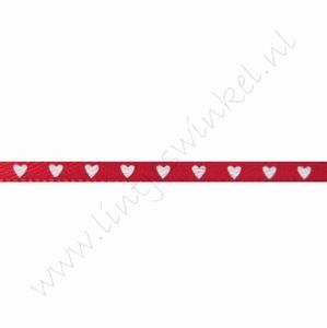 Satijnlint harten 3mm (rol 22 meter) - Rood Wit