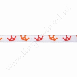 Satijnlint Hollandia 6mm (rol 22 meter) - Kroontje Wit Oranje