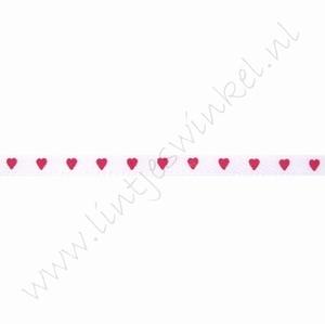Satijnlint harten 3mm (rol 22 meter) - Wit Fuchsia