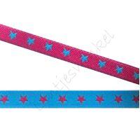 Jacquard weefband 6mm - 2zijdig Ster Aqua Pink