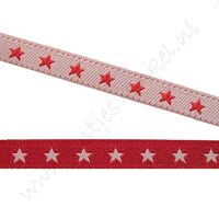 Jacquard weefband 6mm - 2zijdig Ster Rood Wit