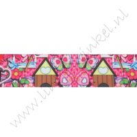 Lint met print 25mm - Lovely Pink House