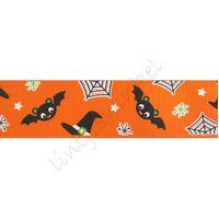 Lint Herfst Halloween 25mm - Vleermuizen Oranje Zwart