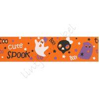 Lint Herfst Halloween 25mm - Spook Oranje Wit
