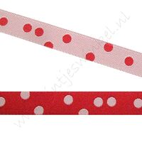 Jacquard weefband 10mm - 2zijdig Stip Rood Wit