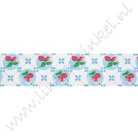 Lint met print 22mm - Aarbei Wit Blauw