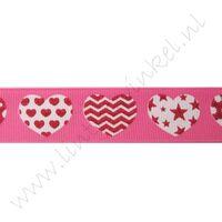 Lint harten 22mm - Pink Wit Rood Glitter