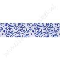 Lint met print 22mm - Porcelein Wit Blauw