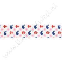 Lint met print 22mm - Walvis Anker Rood Roze Marine