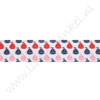 Lint met print 22mm - Zeilboot Rood Roze Marine