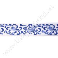 Satijnlint met print 22mm - Porcelein Wit Blauw