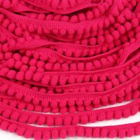 Pompom band 6mm (afmeting bolletje) - Neon Pink