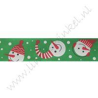 Kerstlint 25mm - Sneeuwpop Groen