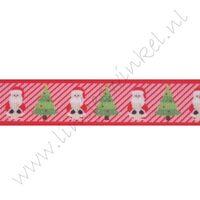 Kerstlint 22mm - Kerstman/boom Rood Strepen