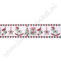 Kerstlint 22mm - Kerst Hartjes Wit Rood Groen