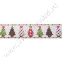 Kerstlint 22mm - Kerstbomen Wit Roze Bruin