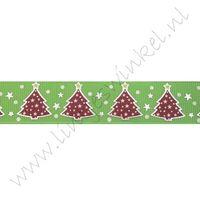 Kerstlint 22mm - Kerstboom Appelgroen Rood Zilver