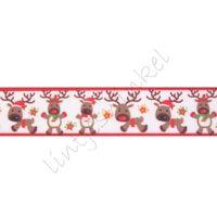 Kerstlint 22mm - Rendier Wit Bruin Rood