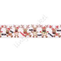 Kerstlint 25mm - Rendier Namen Wit Rood