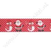 Kerstlint 22mm - Kerstman Sneeuwman Rood
