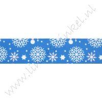 Kerstlint 22mm - Sneeuwvlok Donker Blauw Wit