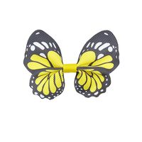 Vlinder 65x50mm - Grosgrain Geel Zwart Wit