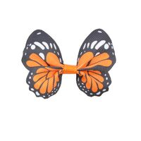 Vlinder 65x50mm - Grosgrain Oranje Zwart Wit