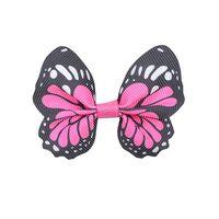 Vlinder 65x50mm - Grosgrain Pink Zwart Wit