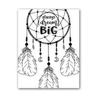 Zwart Wit Kaart - Always Dream Big