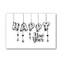 Zwart Wit Kaart - Happy New Year
