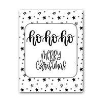 Zwart Wit Kaart - HoHoHo Merry Christmas