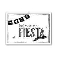 Zwart Wit Kaart - Uitnodiging: Tijd voor een Fiesta (10 stuks)