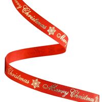 Kerstlint 10mm - Merry Christmas Rood Goud
