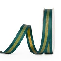 Metallic grosgrain lint 10mm - Streep Dennengroen Goud (593)